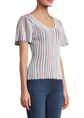 Milly Striped Flutter-Sleeve Rib-Knit Top