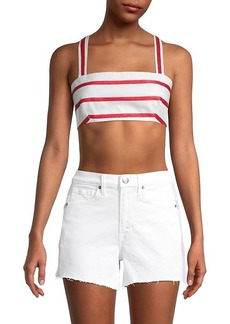 Milly Striped Lace-Up Cotton Cropped Top