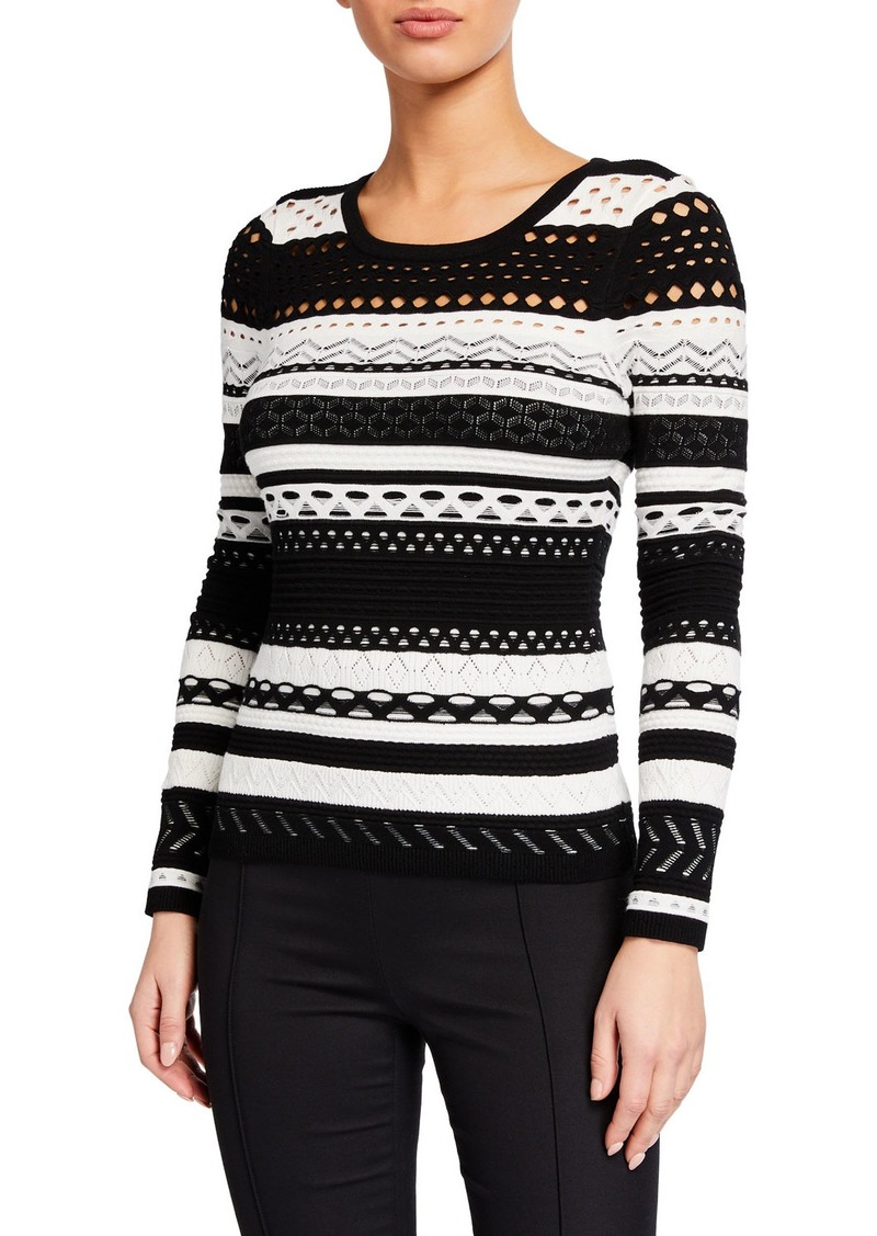Milly Striped Pointelle Sweater