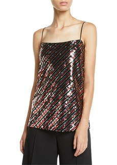 Milly Striped Sequins Bias Camisole
