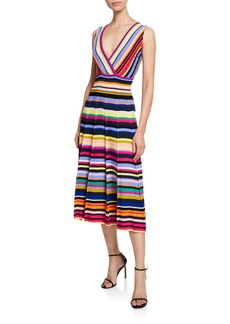 Milly Striped Surplice Fit-and-Flare Midi Dress