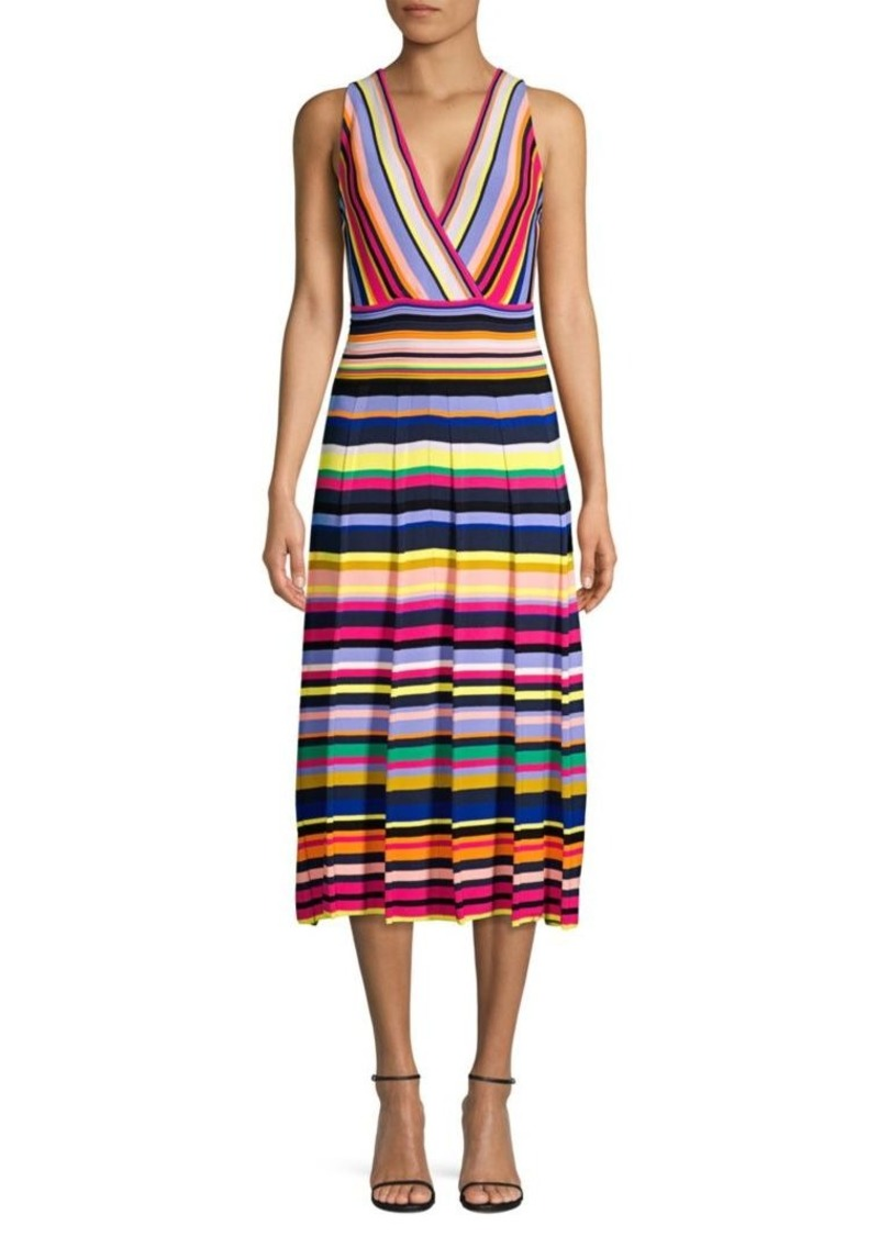 Milly Surplice Stripe Knit Dress