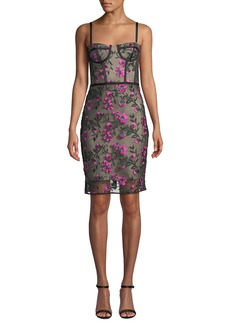 Milly Sweetheart Bustier Floral-Embroidered Tulle Knee-Length Dress
