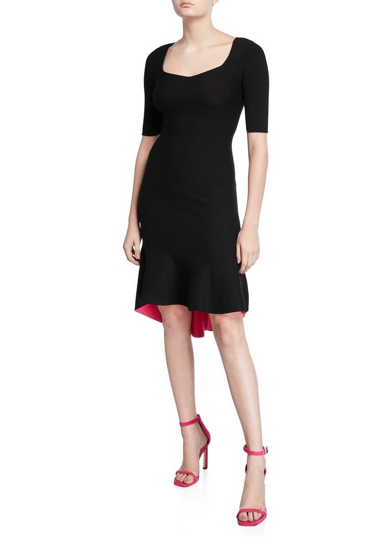 Milly Sweetheart Elbow-Sleeve High-Low Contrast Dress