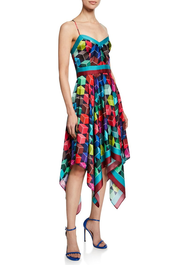 Milly Sweetheart Sleeveless Cube-Print Handkerchief Dress
