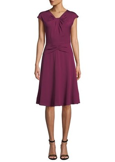 Milly Tatiana Cap-Sleeve A-Line Stretch-Silk Dress