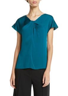 Milly Tatiana Twist-Neck Cap-Sleeve Stretch-Silk Top