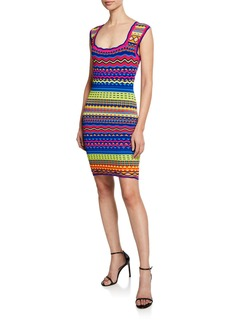 Milly Technicolor Textured Square-Neck Mini Dress