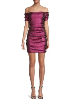 Milly Tessa Off-The-Shoulder Ruched Metallic Cocktail Dress