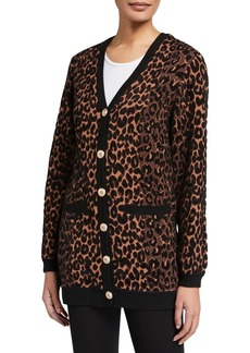 Milly Textured Cheetah Button-Front Cardigan
