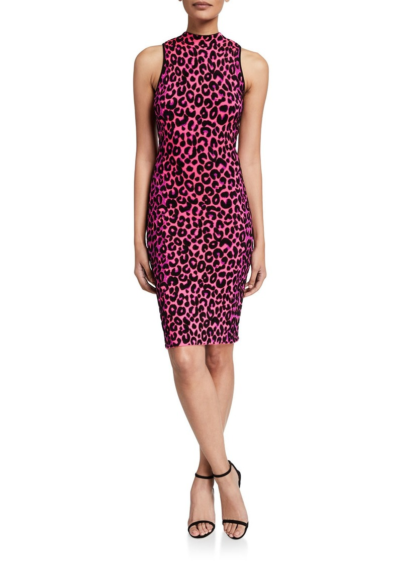 Milly Textured Cheetah Sleeveless Fitted Dress
