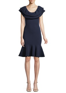 Milly Textured Flounce Sheath Dress