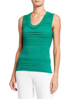 Milly Textured Tech Scoop-Neck Tank