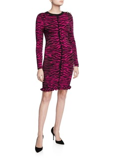 Milly Tiger Jacquard Long-Sleeve Dress