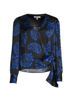 Milly Tossed Paisley Wrap Top