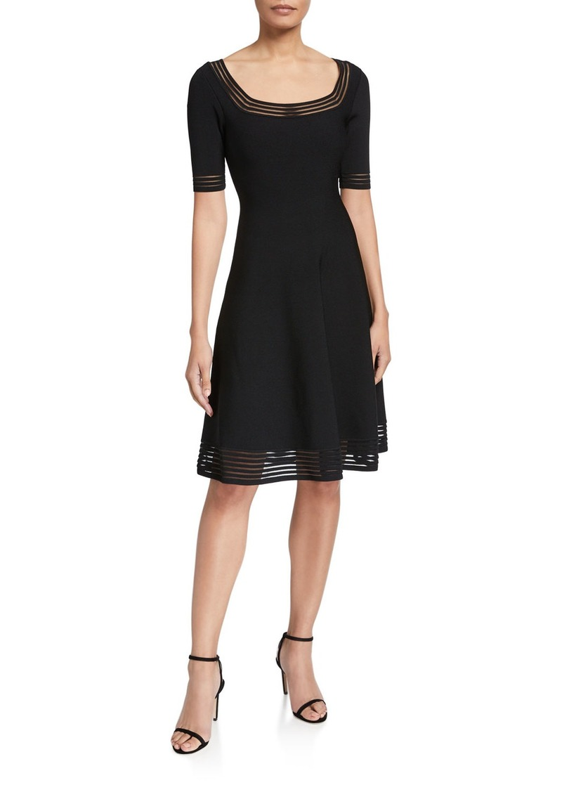 Milly Transparent Stripe Elbow-Sleeve Fit-&-Flow Dress