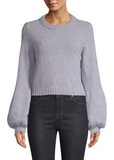 Milly Tweed Bishop-Sleeve Sweater