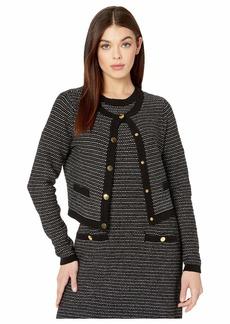 Milly Tweed Knit Cropped Cardigan