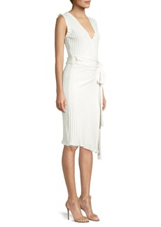 Milly V-Neck Rib-Knit Wrap Dress