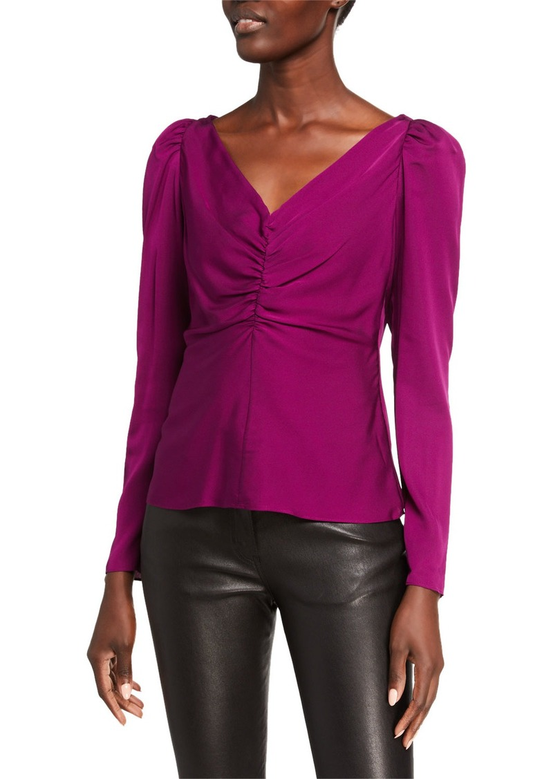 Milly V-Neck Ruched Long-Sleeve Stretch Silk Blouse