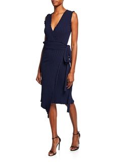 Milly V-Neck Sleeveless Wrap Dress