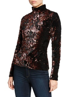 Milly Velvet Sequin Long-Sleeve Turtleneck Top
