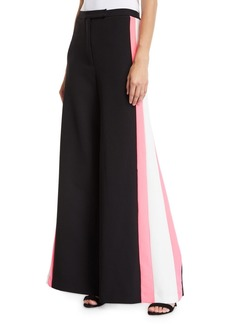 Milly Wide-Leg Italian Cady Track Pant w/ Striped Sides