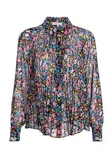 Milly Wildflower Pleated Silk Shirt