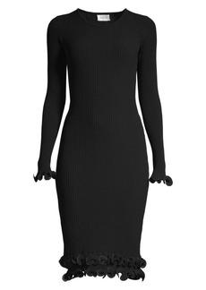 Milly Wired Edge Rib-Knit Bodycon Dress
