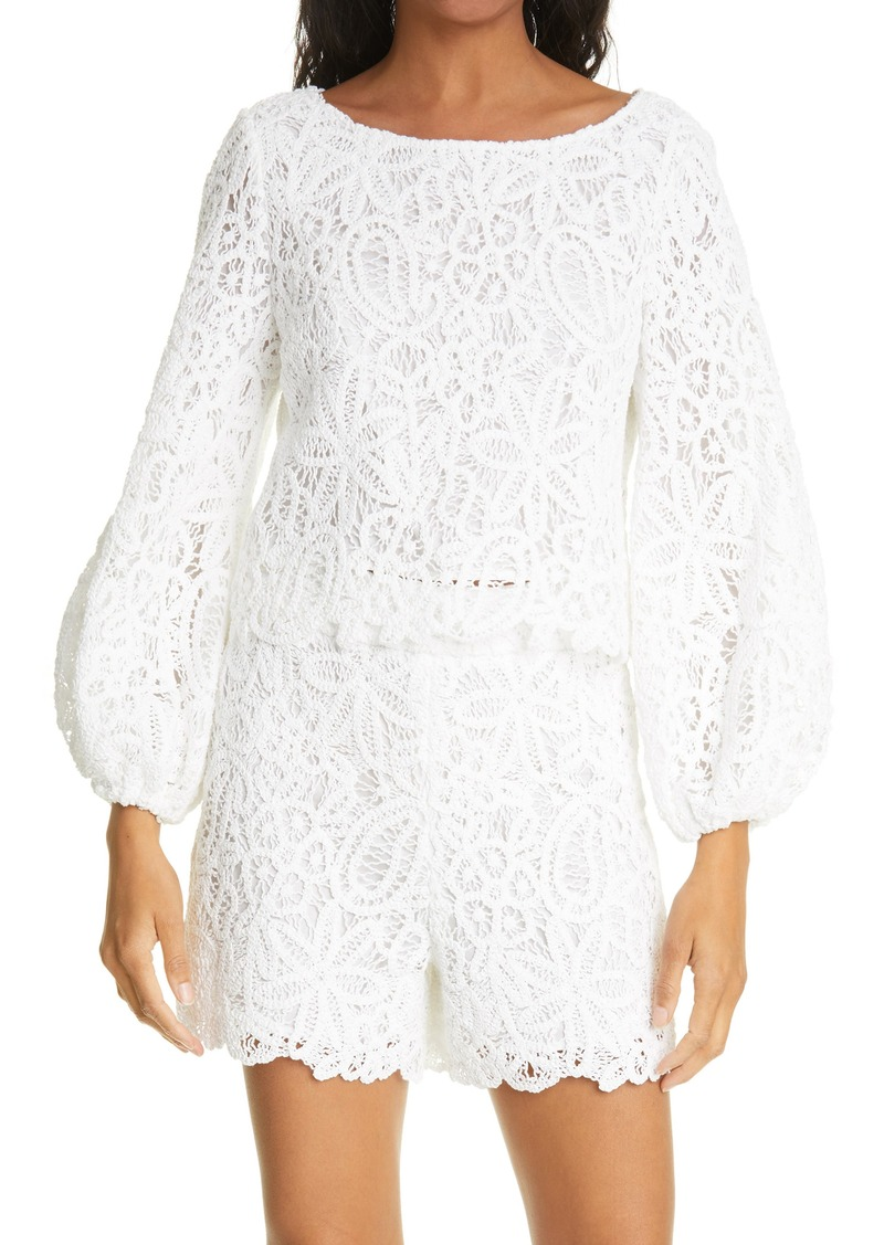Women's Milly Camila Embroidered Crochet Cotton Blouse