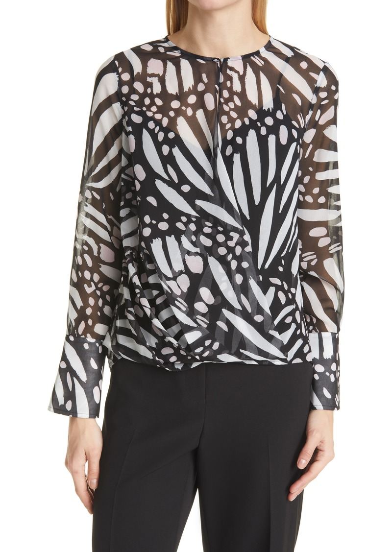 Women's Milly Elysa Graphic Butterfly Long Sleeve Blouse