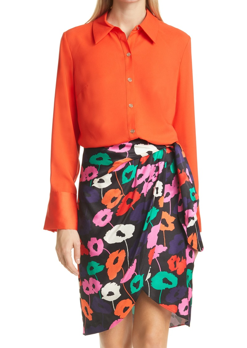 Women's Milly Lacey Satin Button-Up Blouse