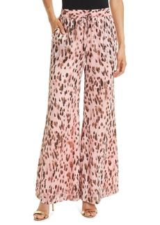 Women's Milly Metallic Leopard Chiffon Track Pants