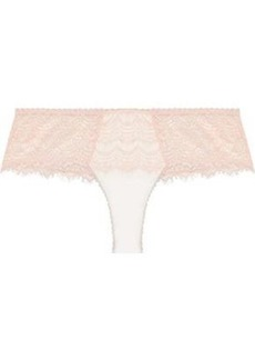 Mimi Holliday By Damaris Woman Satin-paneled Lace Mid-rise Thong Blush
