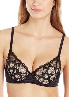 Mimi Holliday Women's Love Heart Fully Padded Super Plunge Raised Lace Bra Black Heart Lace with Apricot Silk Satin