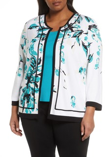 Ming Wang Abstract Floral Knit Jacket (Plus Size)