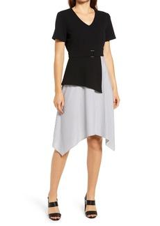 Ming Wang Asymmetric Mock Two-Piece Dress