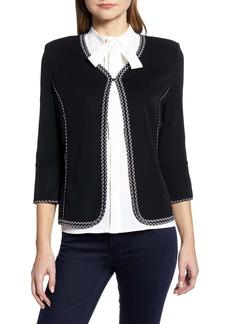 Ming Wang Braided Trim Knit Jacket