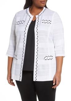 Ming Wang Braided Trim Knit Jacket (Plus Size)