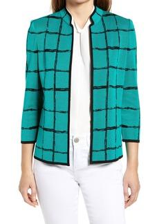 Ming Wang Check Sweater Jacket