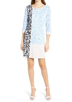 Ming Wang Colorblock Animal Jacquard Knit Dress