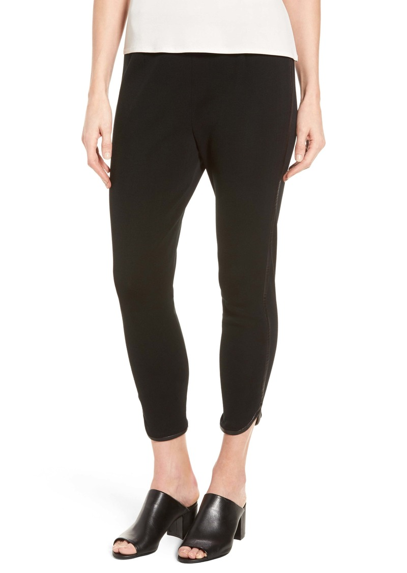 Ming Wang Faux Leather Trim Leggings