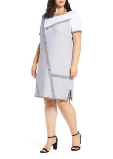 Ming Wang Fringe Trim A-Line Sweater Dress (Plus Size)