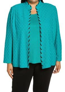 Ming Wang Lace-Up Trim Sweater Jacket (Plus Size)