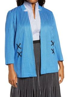 Ming Wang Side Lace Sweater Jacket (Plus Size)
