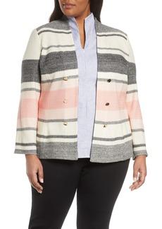 Ming Wang Stripe Knit Jacket (Plus Size)