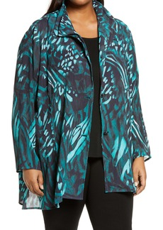 Ming Wang Tropical Print Double Collar Long Jacket (Plus Size)