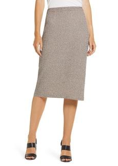 Ming Wang Tweed Knit Pencil Skirt