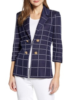 Ming Wang Windowpane Knit Jacket