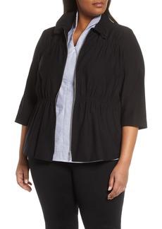 Ming Wang Zip Front Knit Jacket (Plus Size)